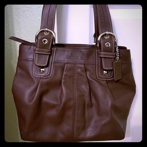 💐 COACH Soho Pleated Brown Leather Tote